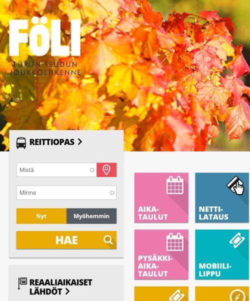 Föli-järjestelmän selainversiosta kuva, jossa näkyy erilaisia palveluita, joita voi palvelun kautta käyttää.