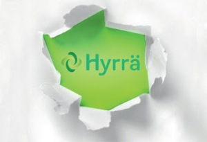 Hyrrä-palvelun logo repeävän paperin takana.