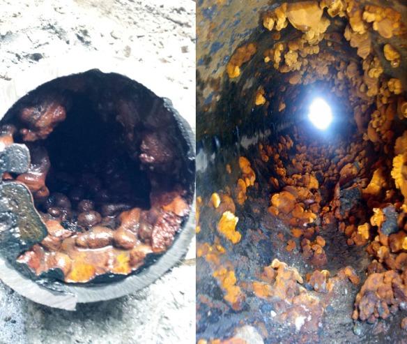 Kuva viemäriverkoston sisältä ja vesiputken sisältä.