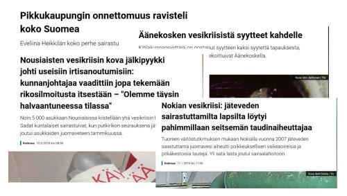 Kuva lehtileikkeistä, joissa kerrotaan Suomessa olleista vesikriiseistä.