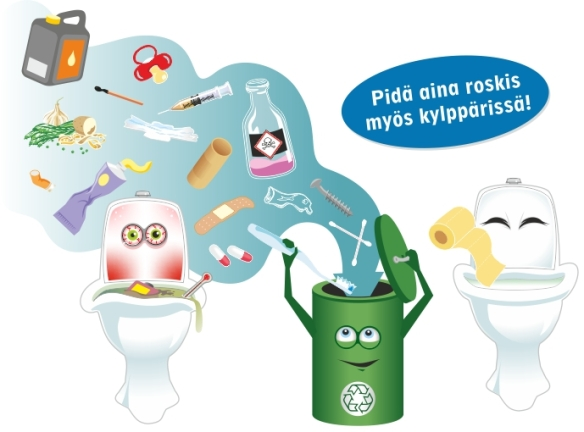 Piirroskuva, joka kertoo siitä, että wc-pönttöön saa laittaa vain wc-paperia ja kaikki muut roskat kuuluvat wc:n roskakoriin.