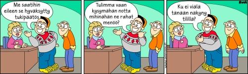 Pöyröön -sarjakuva, jossa kerrotaan tukihakemuksen saamisesta ja maksatuksesta.
