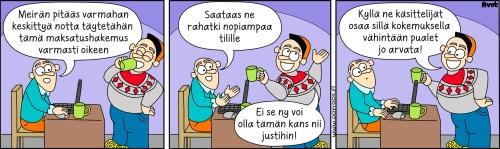 Pöyrööt-sarjakuva kertoo maksatushakemuksen tekemisestä oikein huumorin avulla.