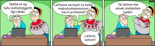 Pöyrööt-sarjakuva kertoo huumorin keinoin, että maksatushakemukseen on tullut lisätietopyyntö.