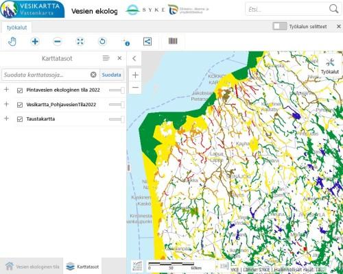 I vattenkartan kan alla intresserade hitta information om ytvatten och grundvatten i Finland.